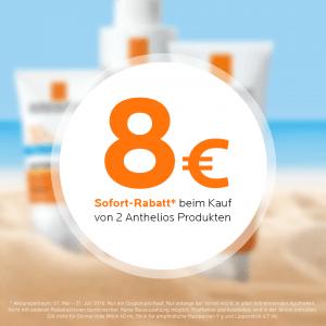 8 EUR Rabatt beim Kauf von 2 Anthelios Produkten